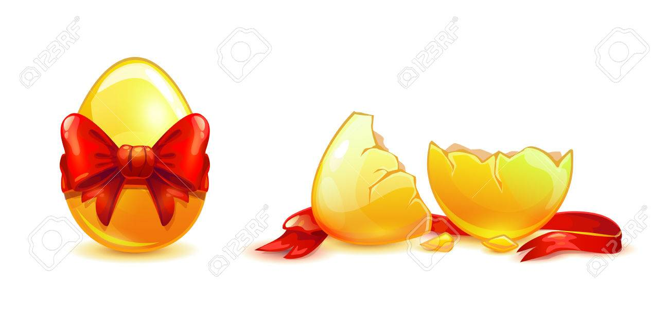 Whole and broken golden egg with red ribbon. - 75435987