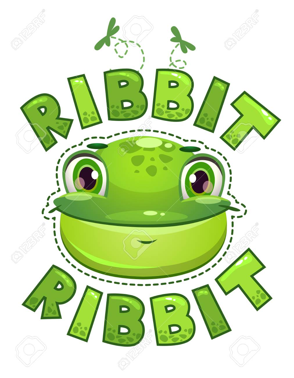 cute t shirt print for kids with frog face vector illustration rh 123rf com Turtle Vector Frog Silhouette