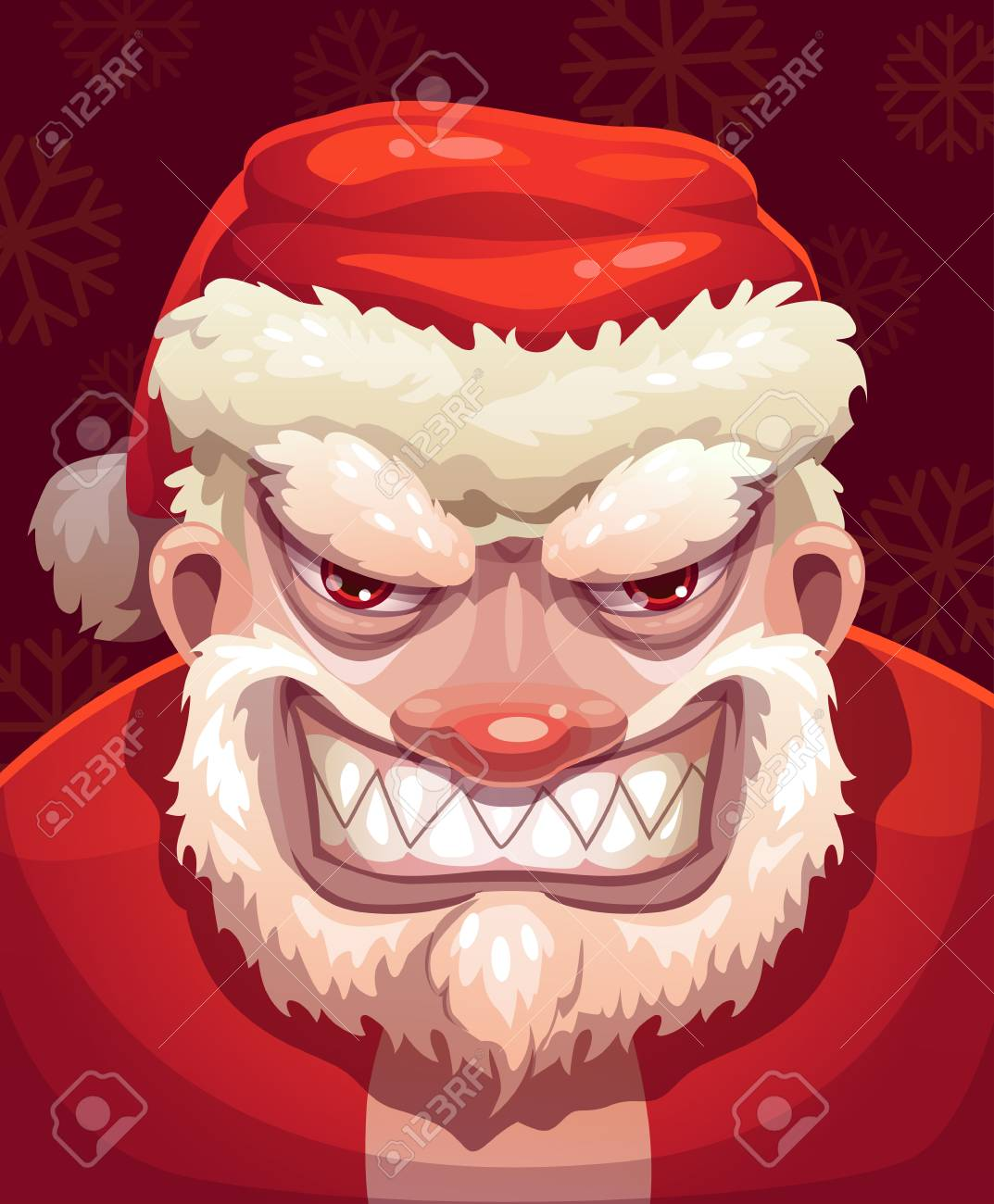 santa s face on an angry or bad mood showing his teeth royalty free
