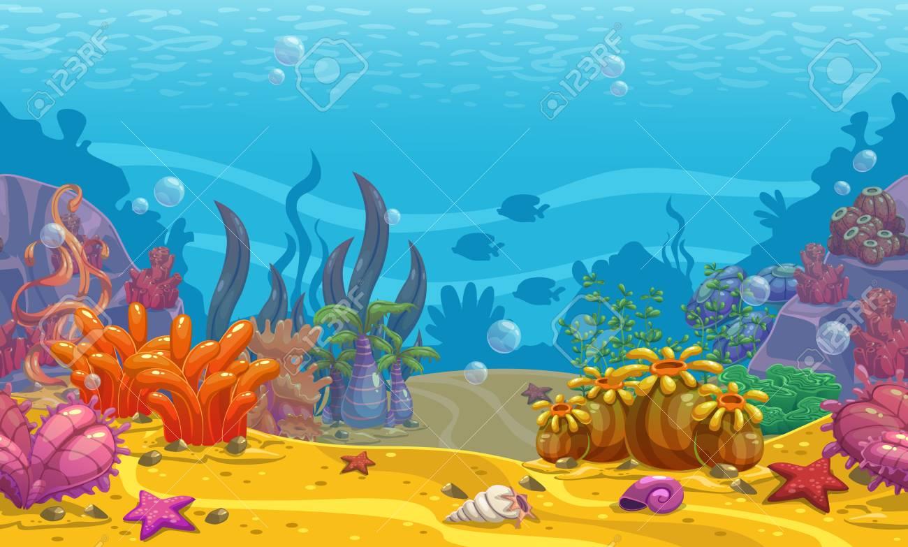 Cartoon seamless underwater background. - 98540046