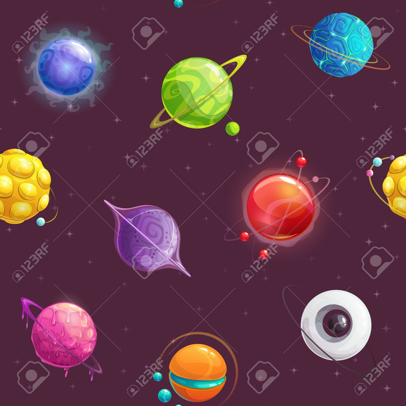 Seamless pattern with cartoon colorful fantasy planets  Vector