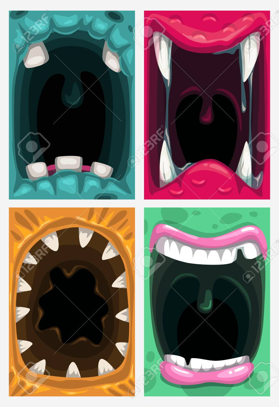 Scary Monster Mouth Vector Creepy Posters Set Cartoon Backgrounds