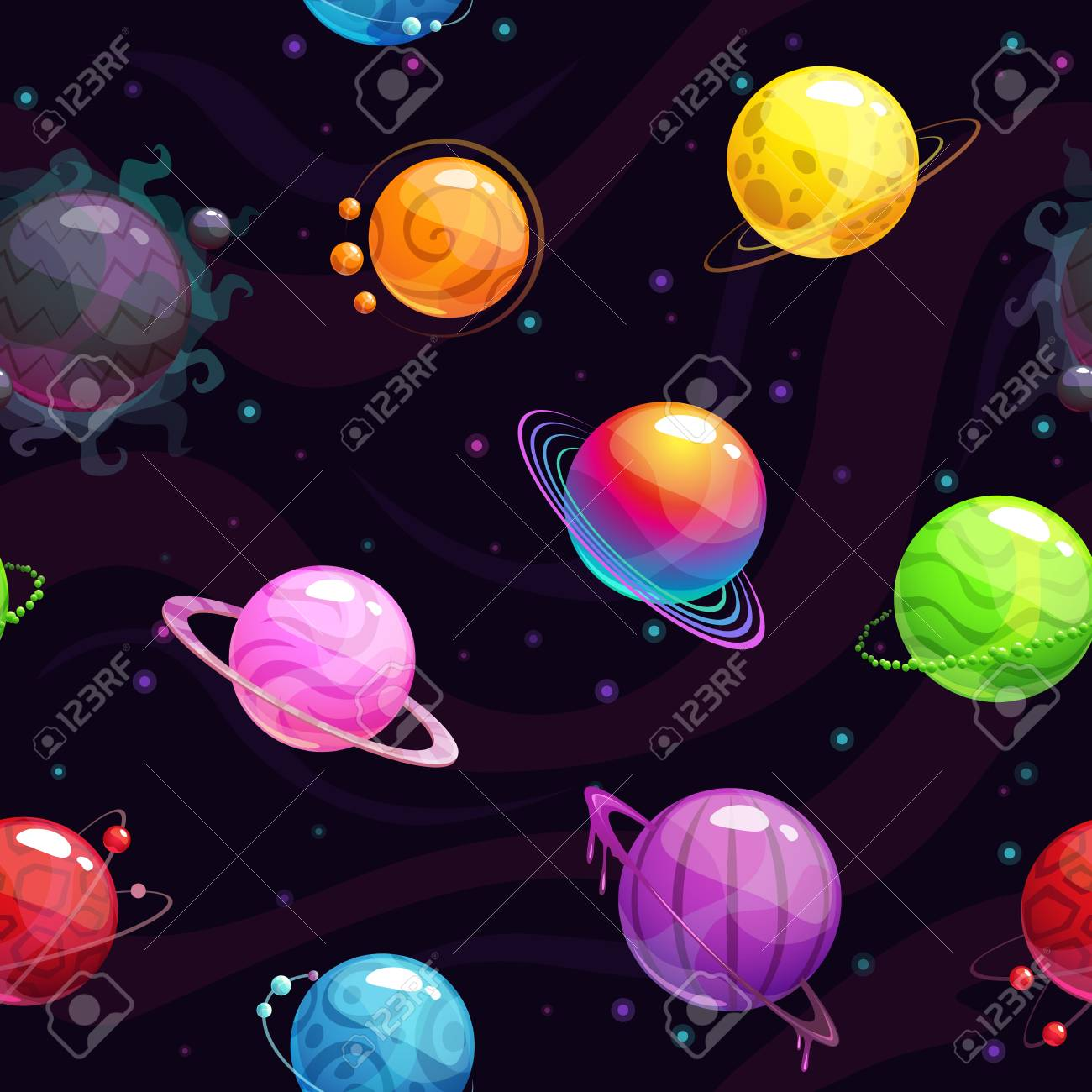 Seamless pattern with colorful cartoon fantasy planets. Vector space background - 125724625