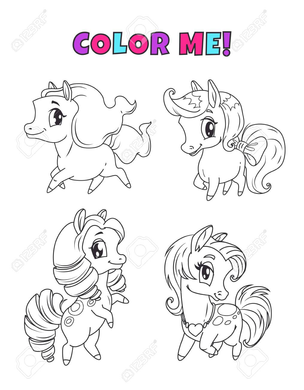 Little cute cartoon pony set. Outline horses icons for coloring..