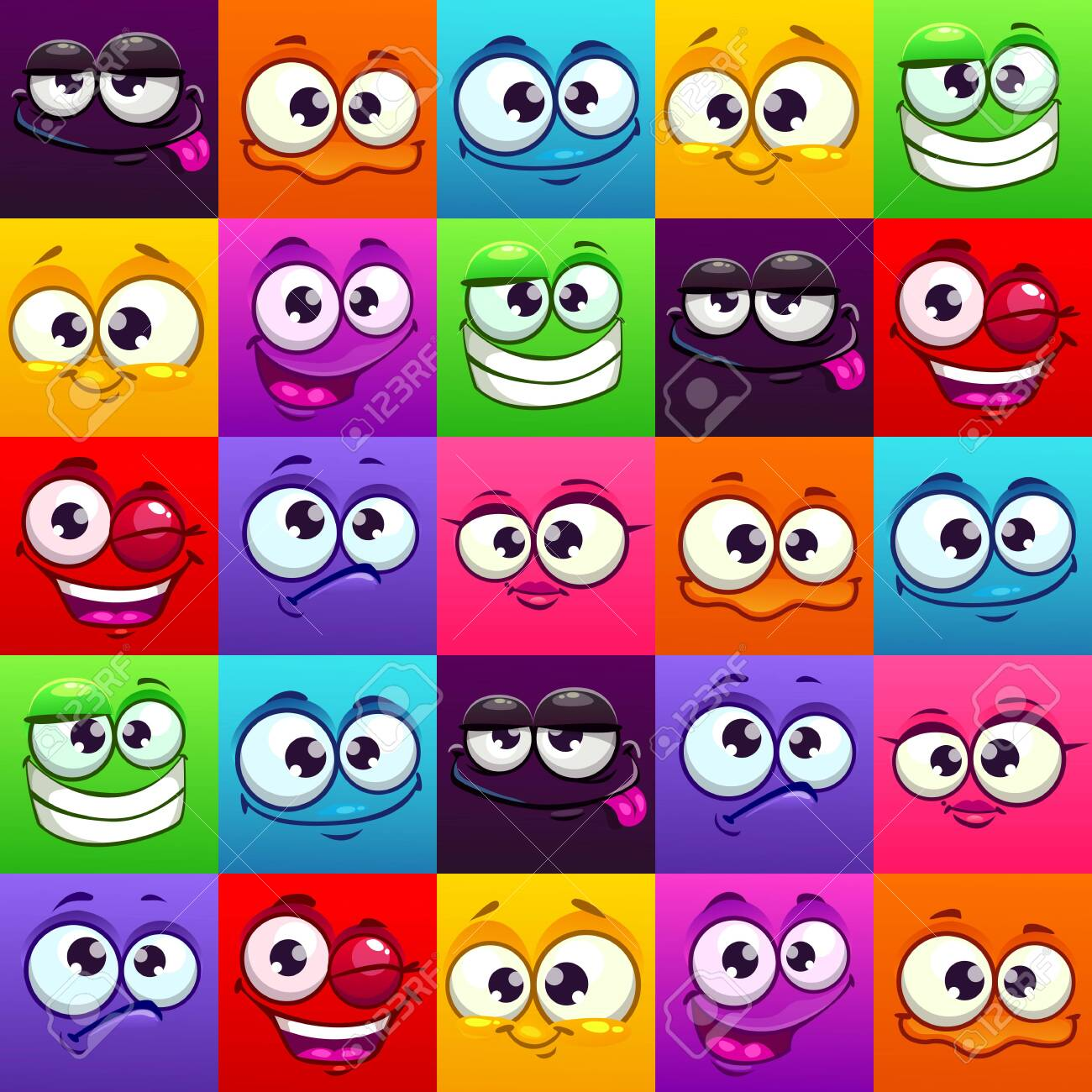 Seamless pattern with funny colorful emoji faces. - 149046468
