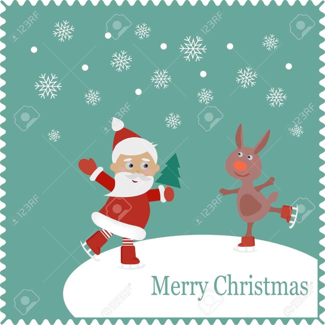 7a1d2f13a576 Banque d images - Père Noël et patins de lapin sur la neige. Noël carte  mignonne de nouvelle année, joyeux noël