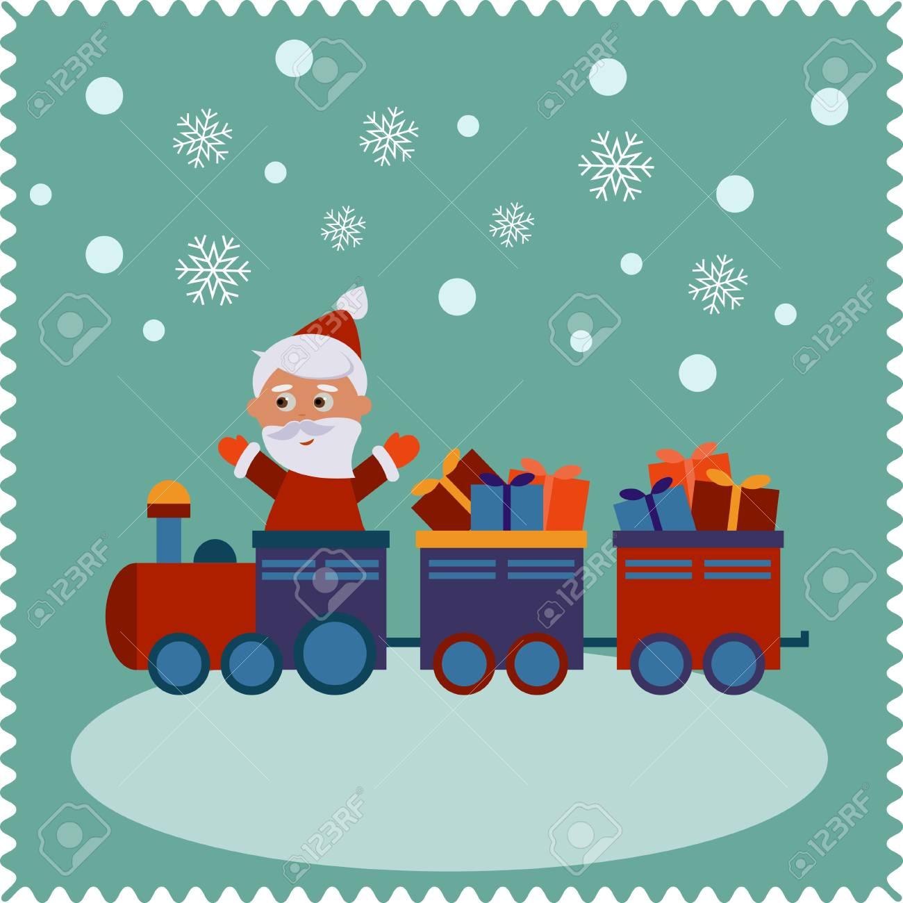 521308116ad9 Banque d images - Père Noël de voyager en train. Noël carte mignonne de  nouvelle année, joyeux noël