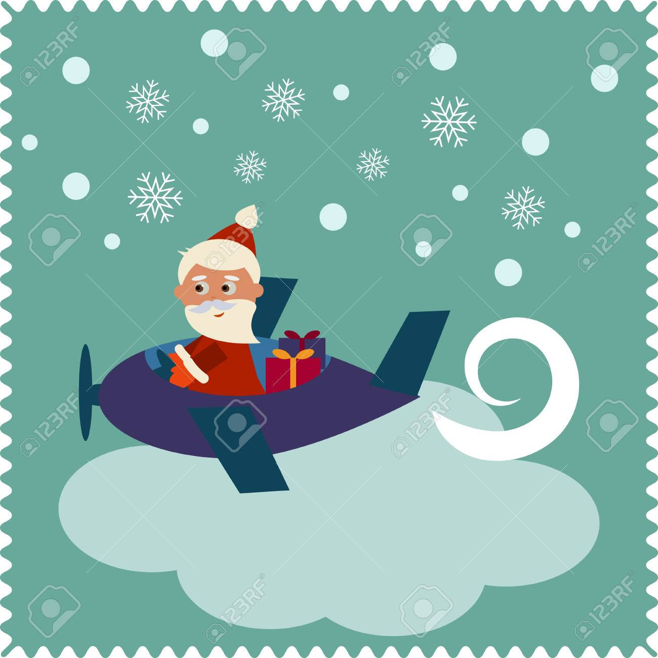 merry christmas greeting card with happy santa claus on airplane
