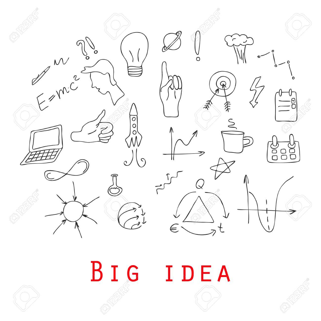 Doodle Design Stil Konzept Der Großen Idee, Finden Lösung, Brainstorming,  Kreatives