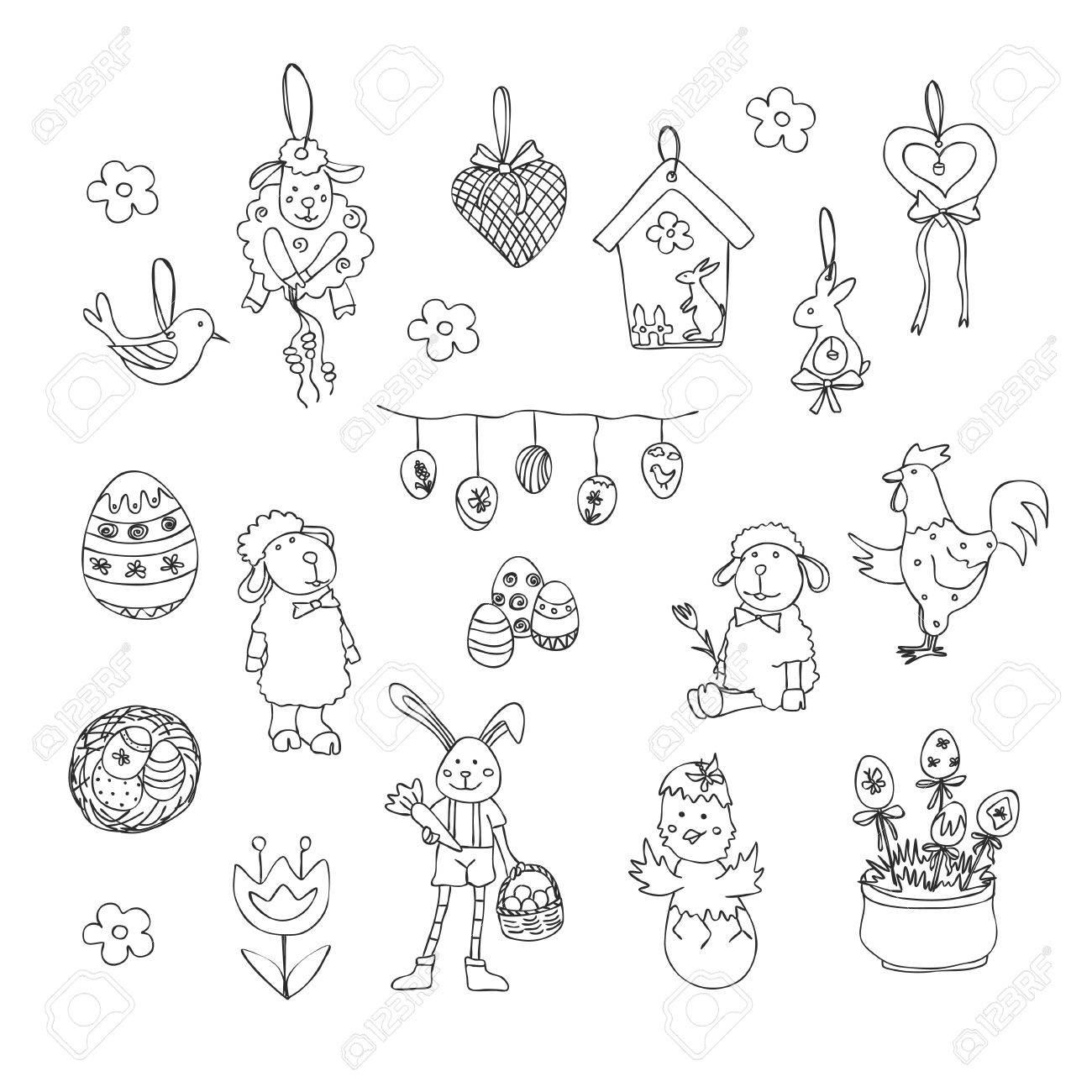 Easter Traditional Symbols Collection Easter Eggs Easter Bunny