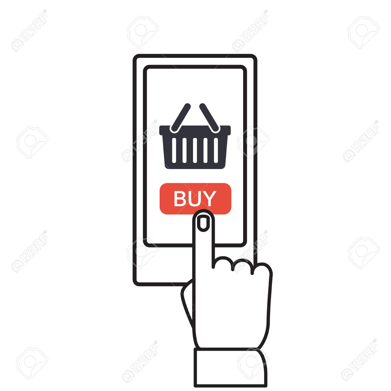 f3fd9e00b6d Mobile and online shopping vector illustration. Smartphone shopping in flat  style. Mobile shopping using