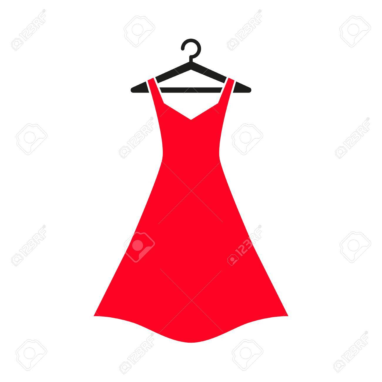 Woman red dress on hanger. Dress Icon - 70779088
