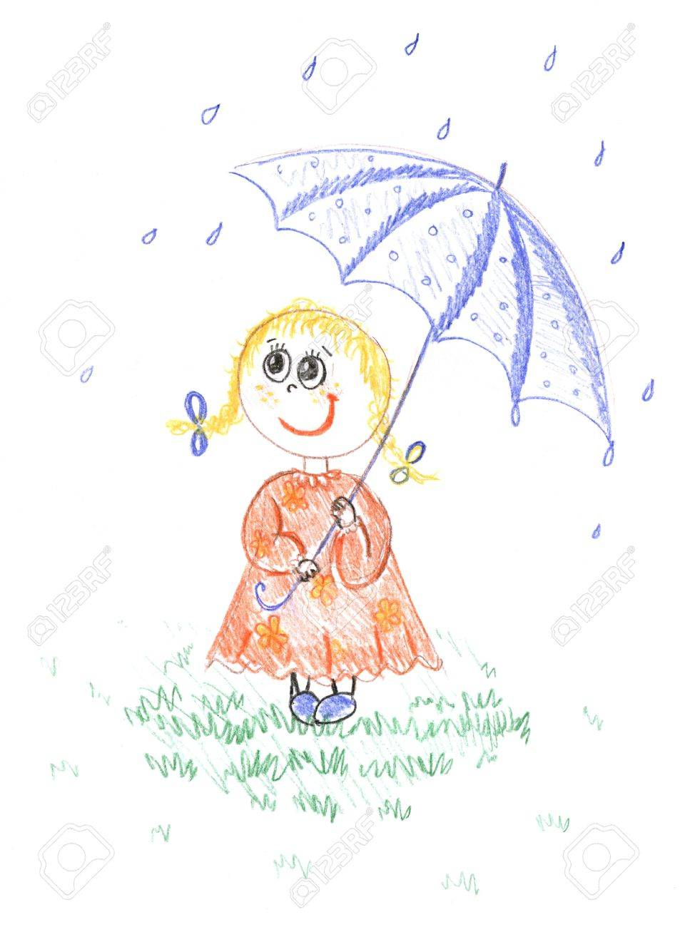 Girl with umbrella kids colored pencil drawing stock photo 6364187