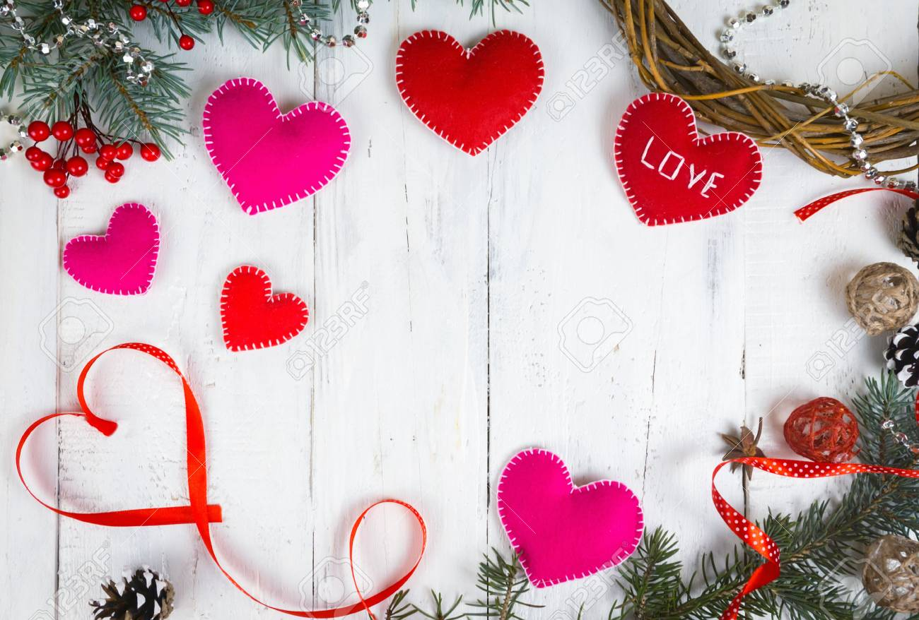 Valentine S Day Background Hearts And Branches Of A Christmas