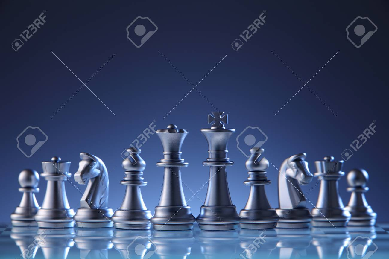 chess pieces on the chess board - 118053159