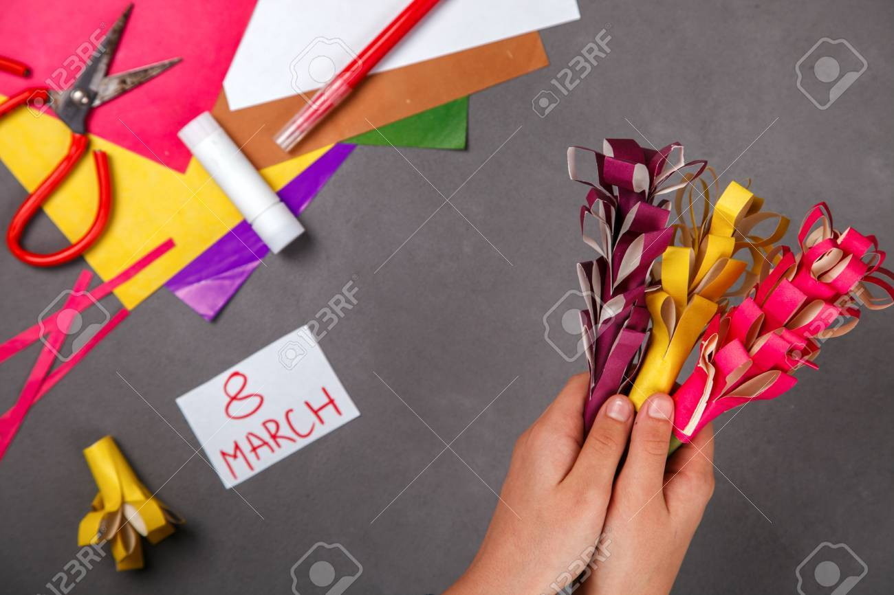 Child Made Ornaments Out Of Colored Paper Handmade Gift For Stock