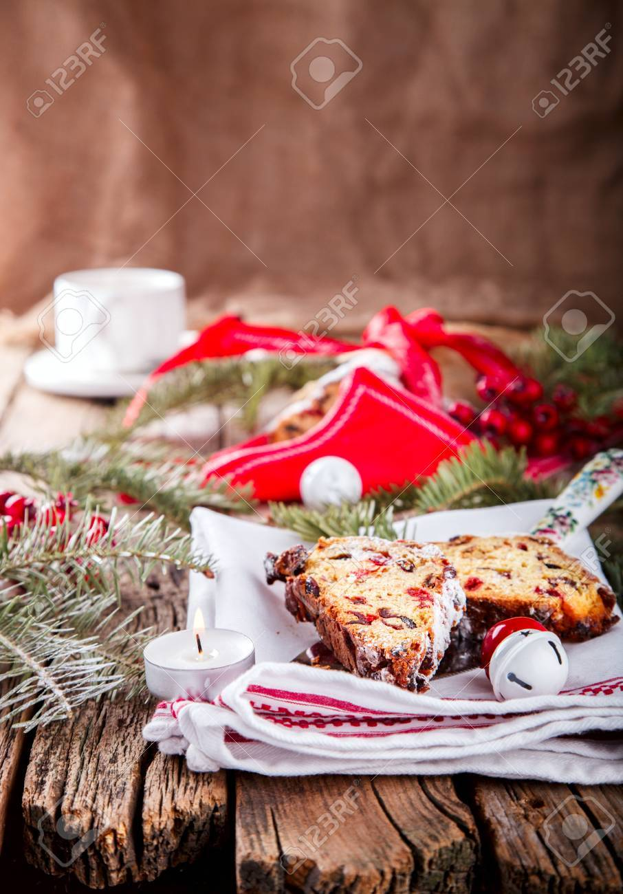 Dresdnen Stollen Is A Traditional German Cake With Raisins On ...