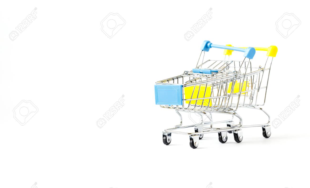 3ef17cce64 Shopping cart trolley basket is empty isolated on white background...