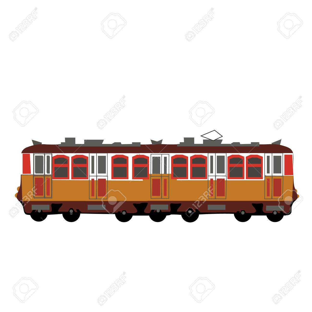 Yellow Color Train Wagon Vector Illystration Isolated
