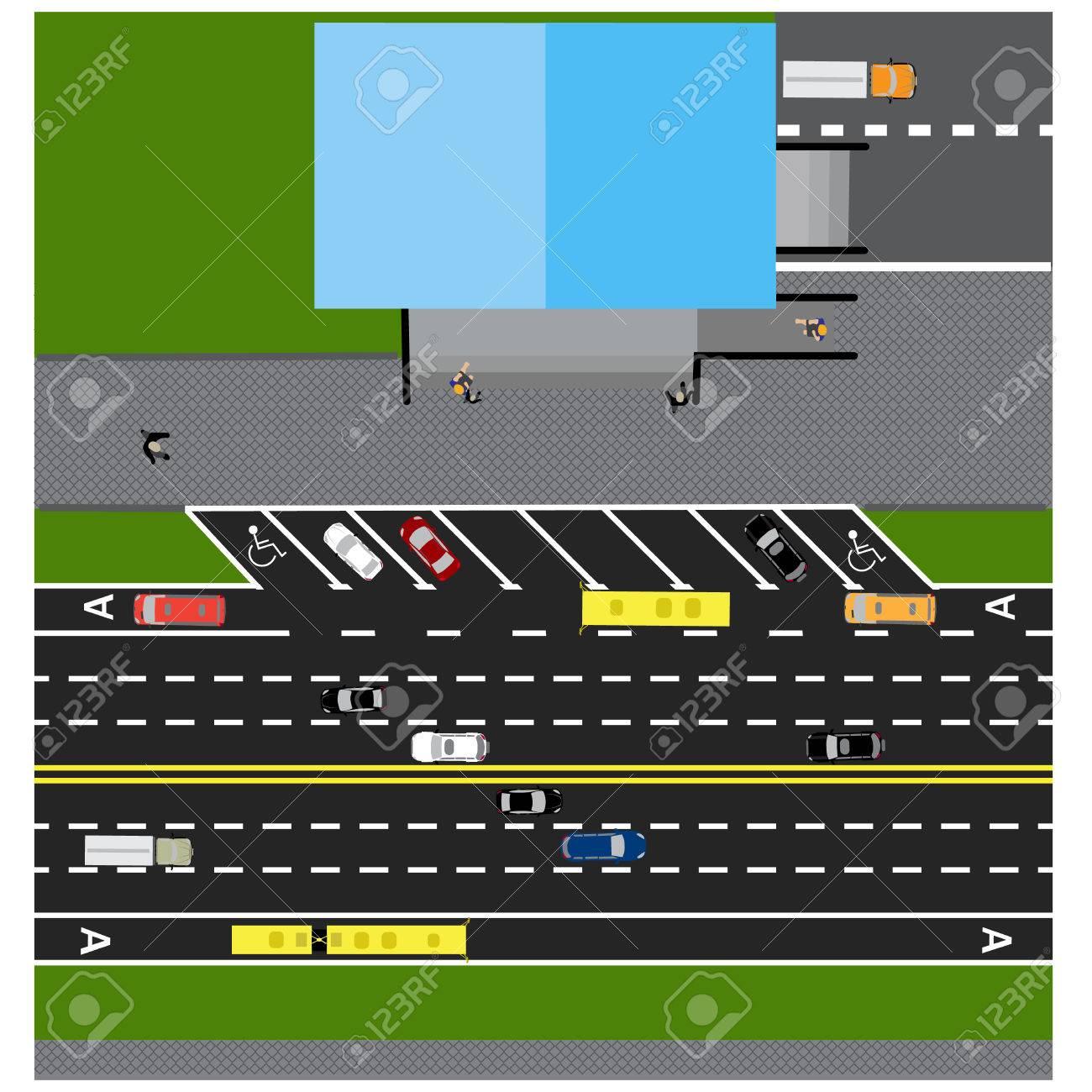 Grundstück Straße, Autobahn, Straße, Mit Dem Laden. Mit ...