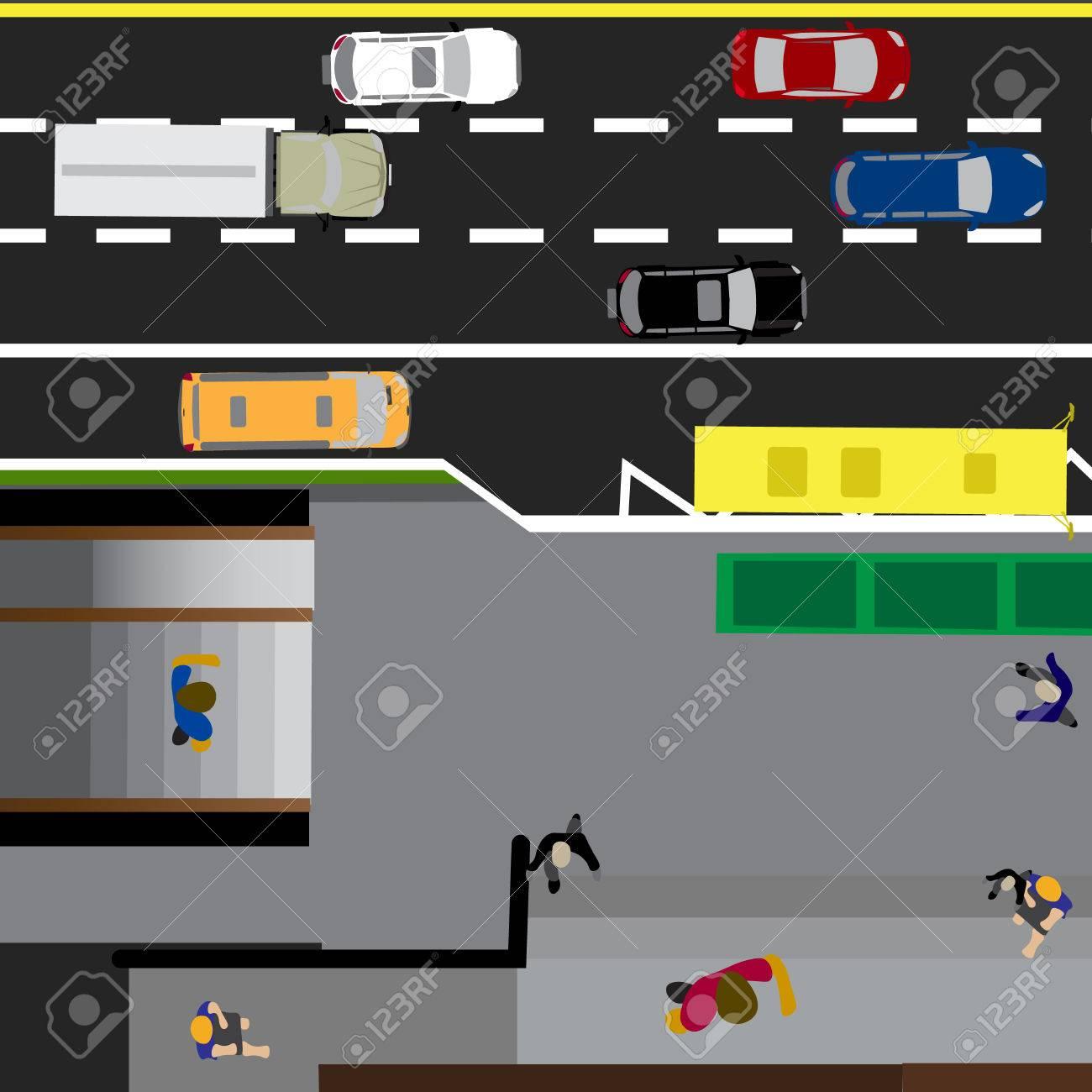 Grundstück Straße, Autobahn, Straße, Mit Dem Laden. U-Bahn-Kreuzung ...