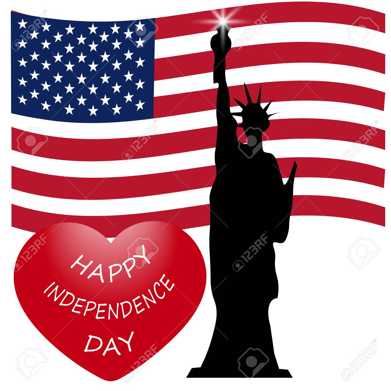 Happy American Independence Day The Statue Of Liberty Us Symbols