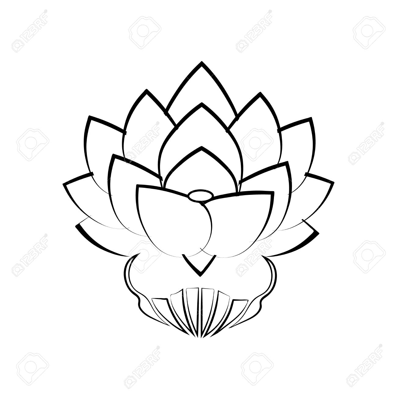 Black Stylized Image Of A Lotus Flower On A White Background