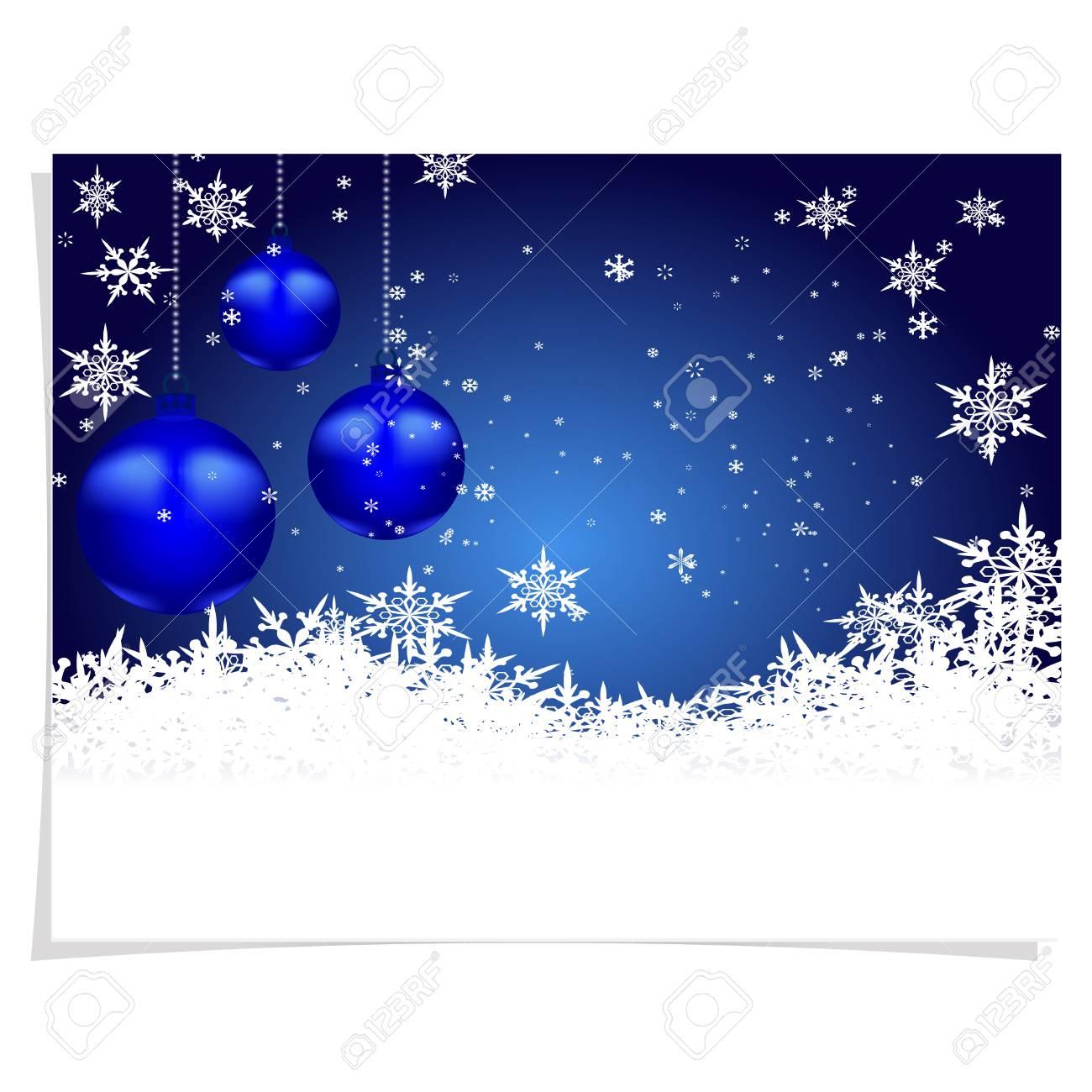 Natal Cartão De Ano Novo S Esfera Três Azul Brilhante Em Um Fundo