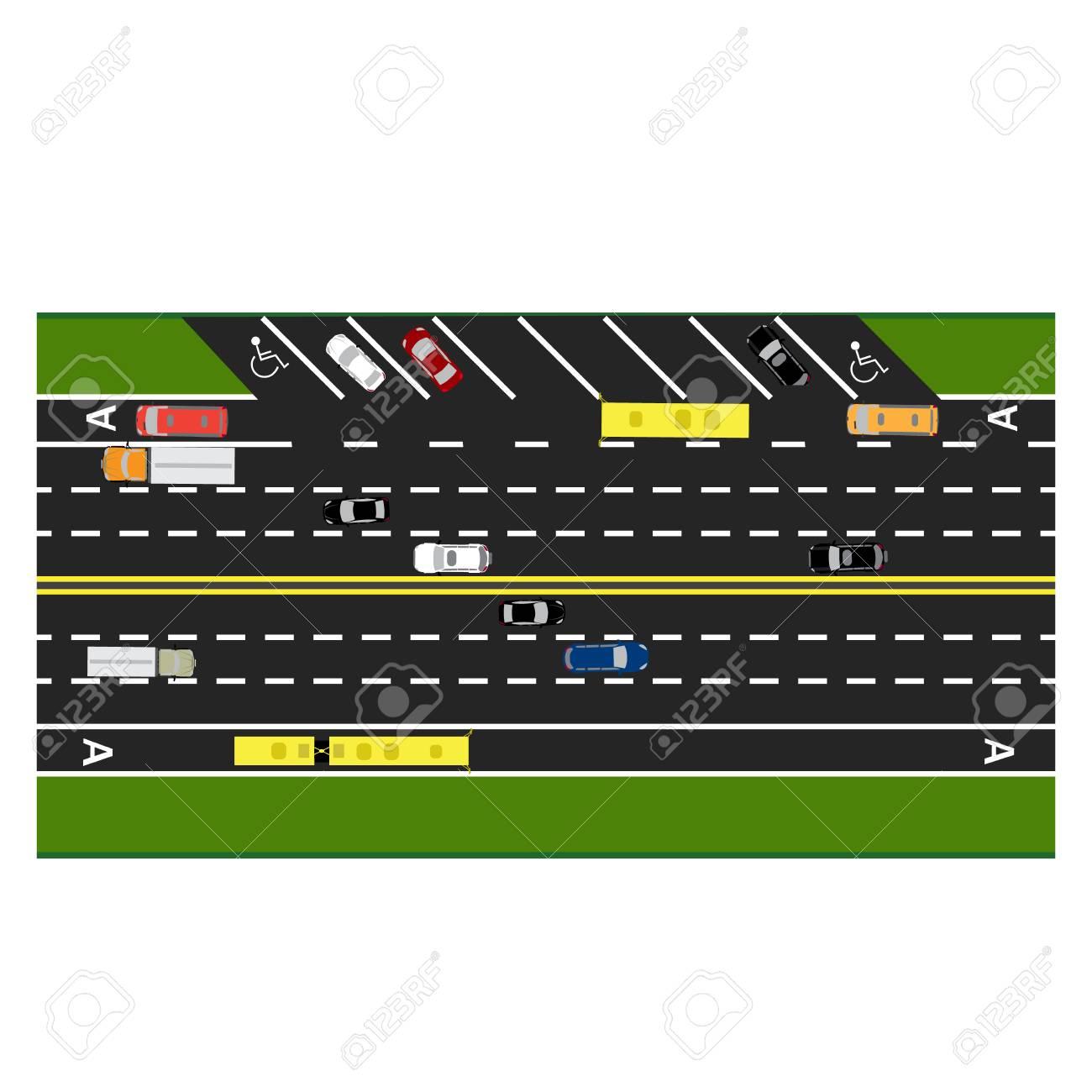 Straße Infografiken. Anschlagstraße, Landstraße, Straßenparken. Mit ...