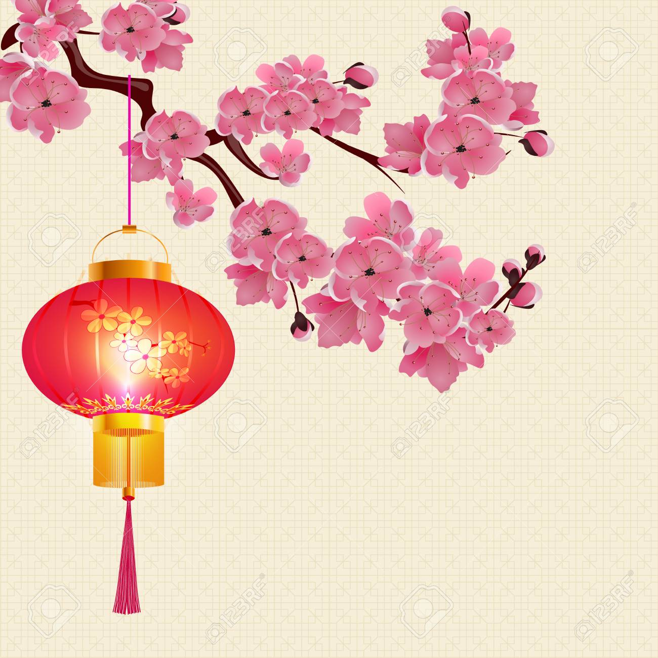 red chinese lanterns hanging on a branch of cherry blossoms with