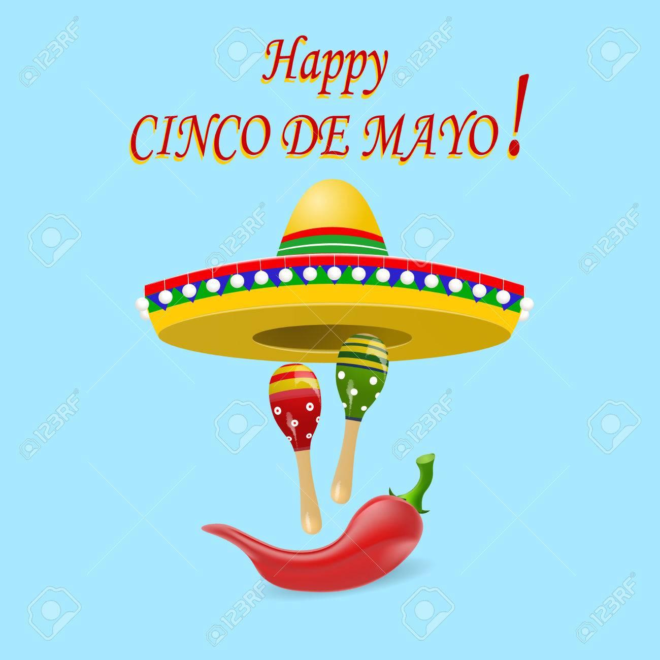Foto de archivo - La inscripción del feliz Cinco de Mayo. Sombrero 3b8def24f2c