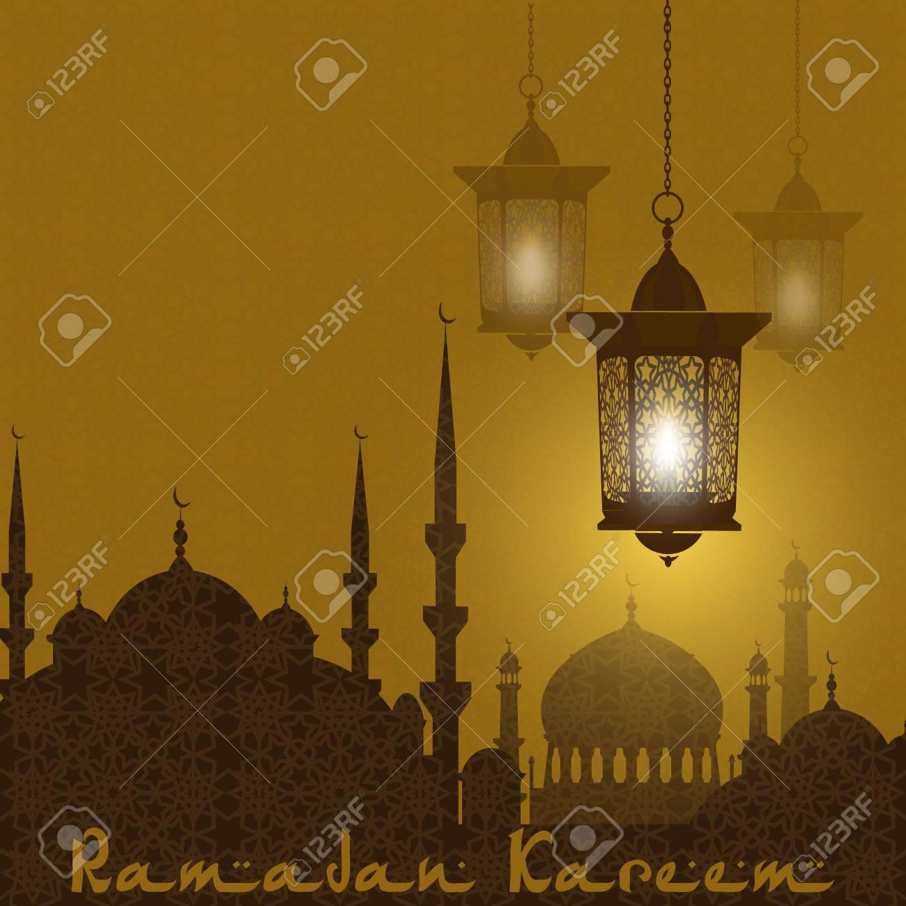 Agreable Banque Du0027images   Kareem Ramadan. Dessin Stylisé De La Silhouette De La Ville  Orientale. Lanternes Sur Fond Du0027un Ornement. Illustration