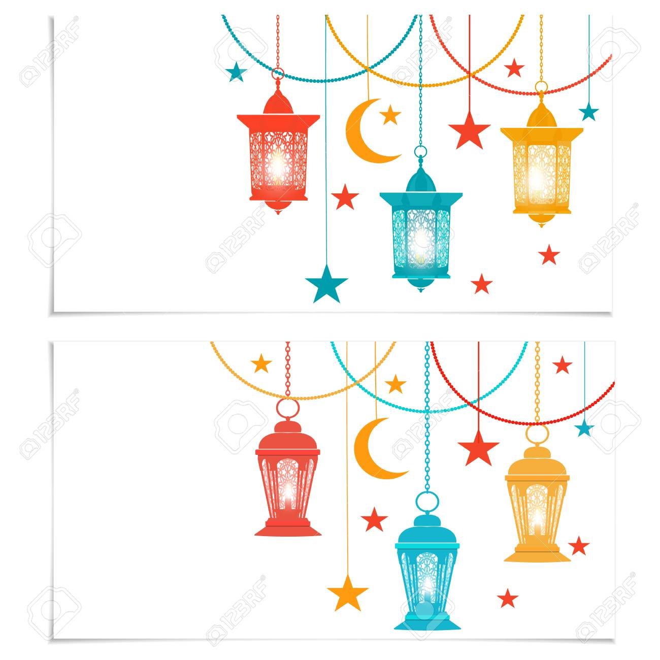 Ramadan kareem flyers business cards or invitation cards colored illustration ramadan kareem flyers business cards or invitation cards colored lanterns in oriental style isolated on white background illustration colourmoves