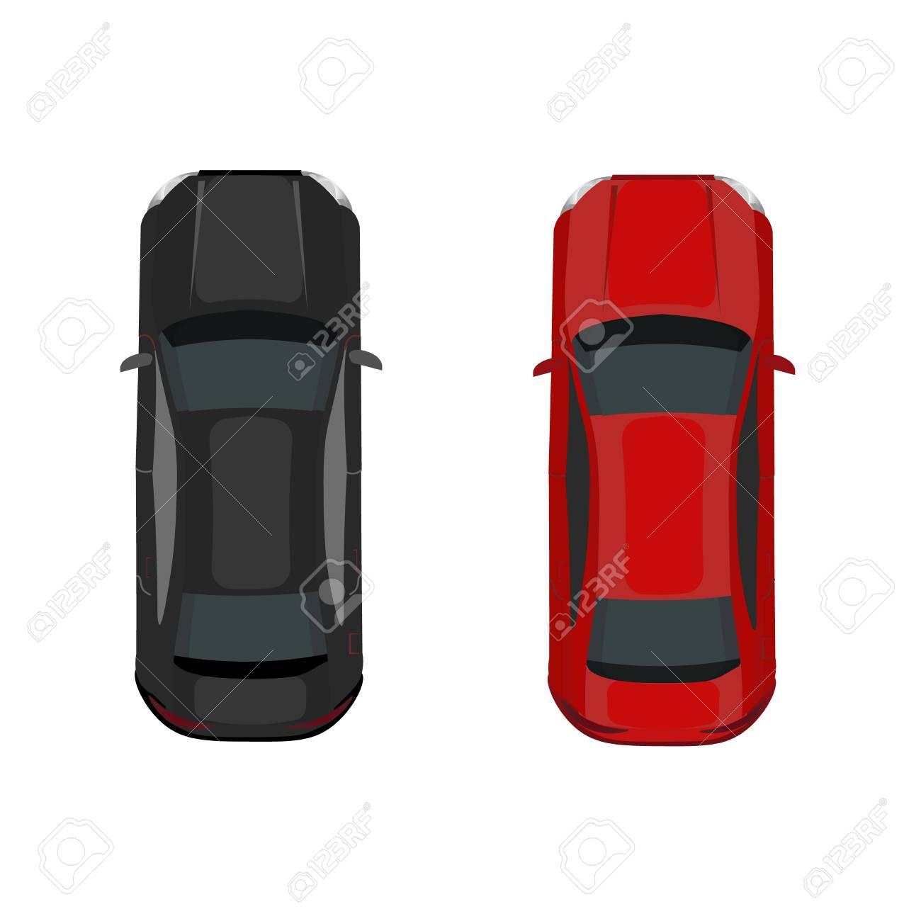 2 台の車黒と赤上からの眺め体積メッシュもグラデーションを描画し