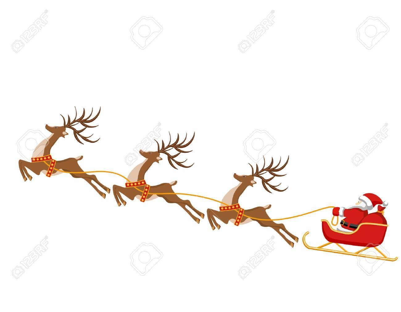 Nouvel An Noel Dessin De Cerf Et Traineau Du Pere Noel En
