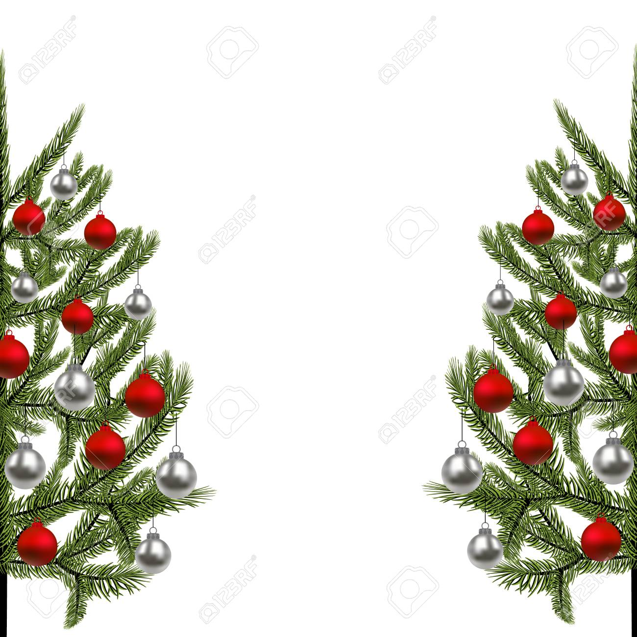 Wonderful Illustration   New Year, Christmas Card. The Image Of A Beautiful Green  Spruce On Both Sides, Decorated With Red And Silver Balls. Illustration