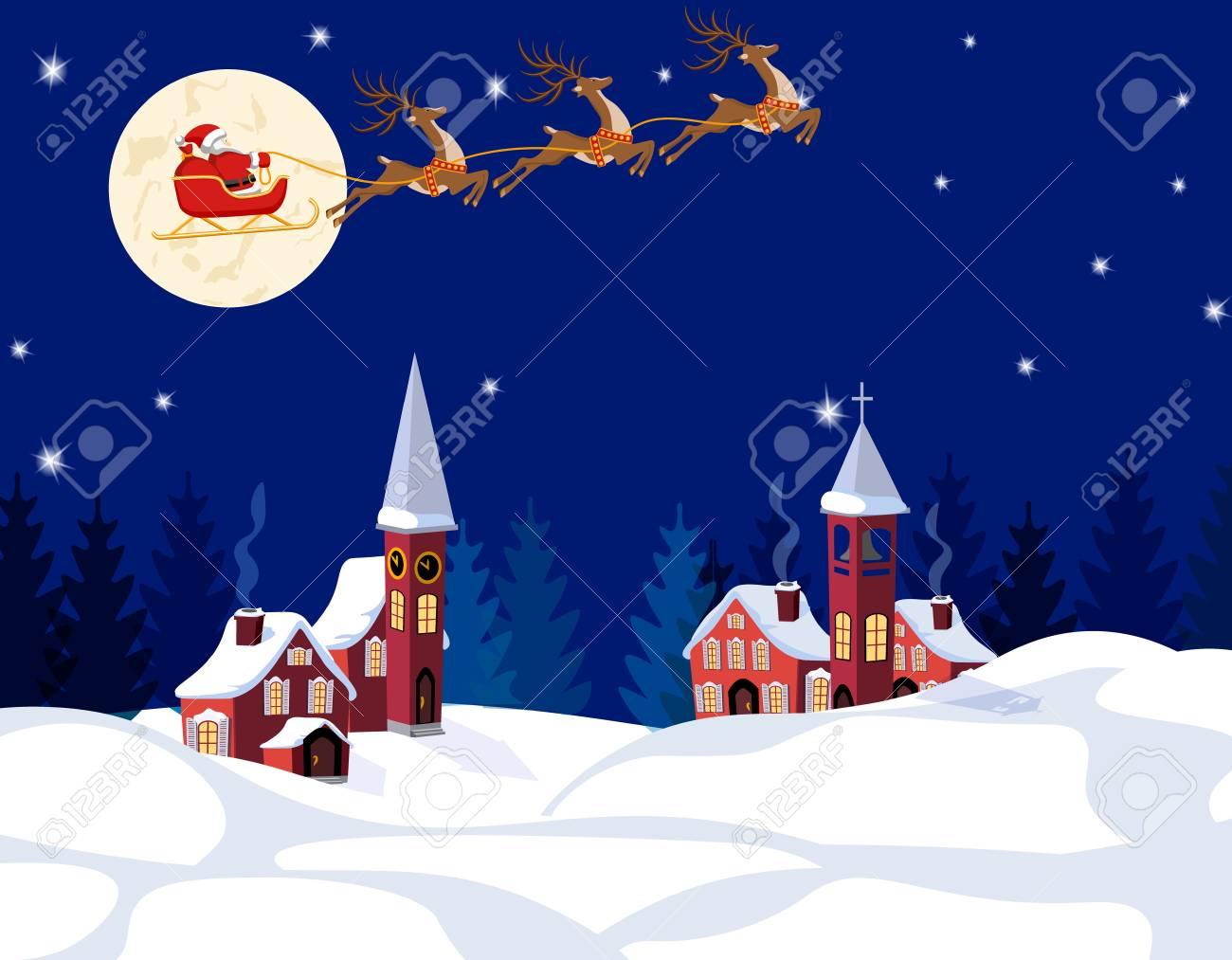Capodanno Alla Casa Di Babbo Natale.Natale Di Capodanno Un Immagine Di Babbo Natale E Cervi Citta Invernale Alla Vigilia Del Nuovo Anno Neve Luna Stelle Illustrazione