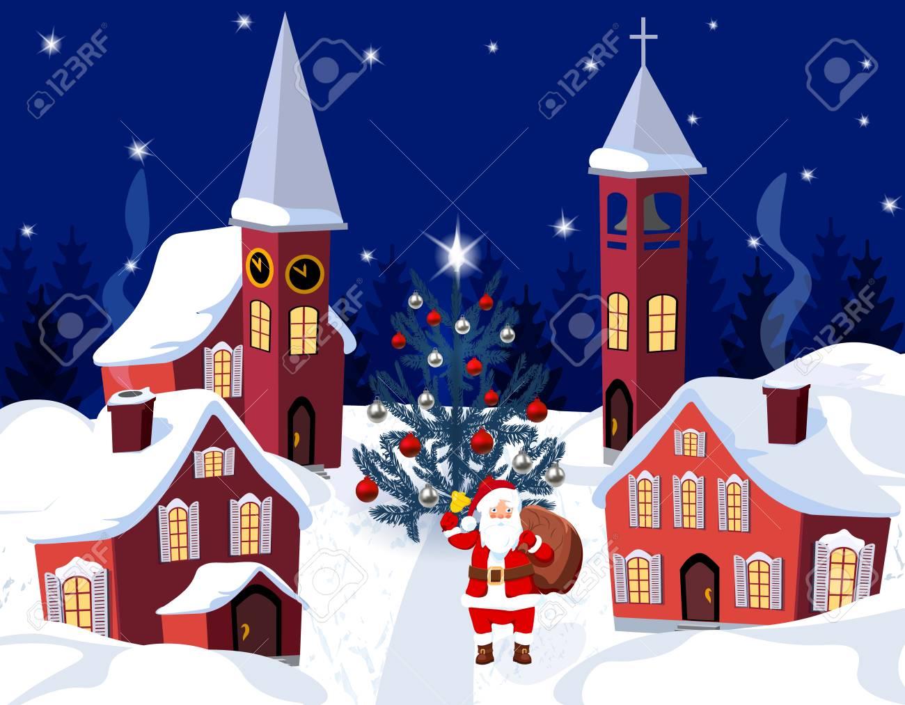 Capodanno Alla Casa Di Babbo Natale.Capodanno Natale Un Immagine Di Babbo Natale E Un Albero Di Natale Vestito Citta D Inverno Alla Vigilia Del Nuovo Anno Illustrazione
