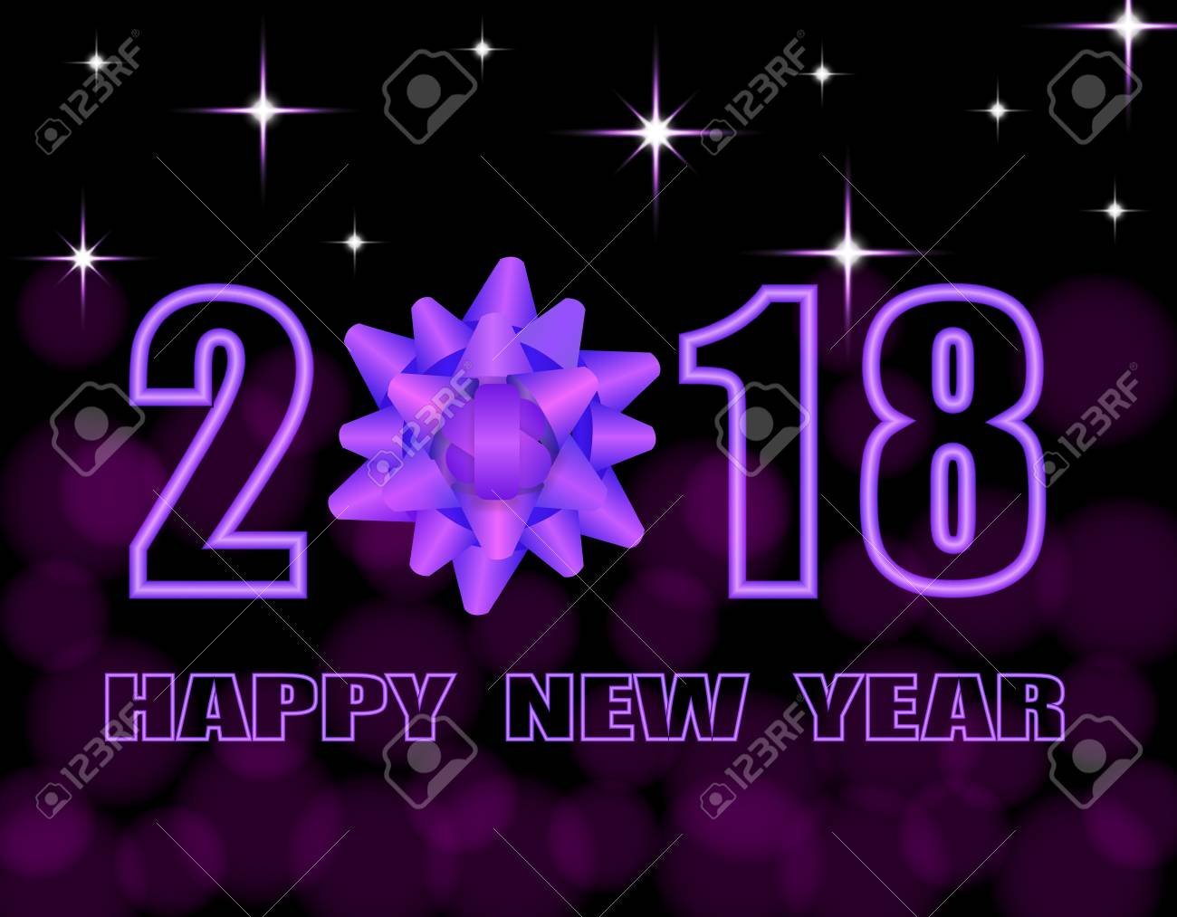 happy new year 2018 text stylized purple bow greeting card illustration stock illustration