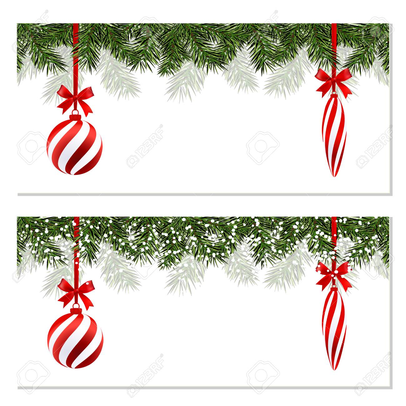 New Year Christmas. Set. Flyer, Business Cards, Postcards. Striped ...