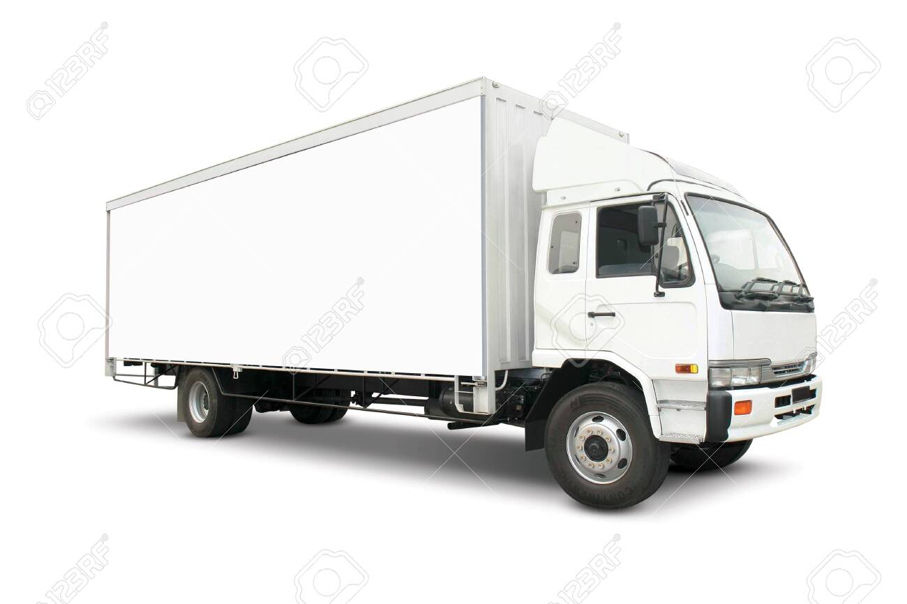 White heavy truck with cargo container - 143845192
