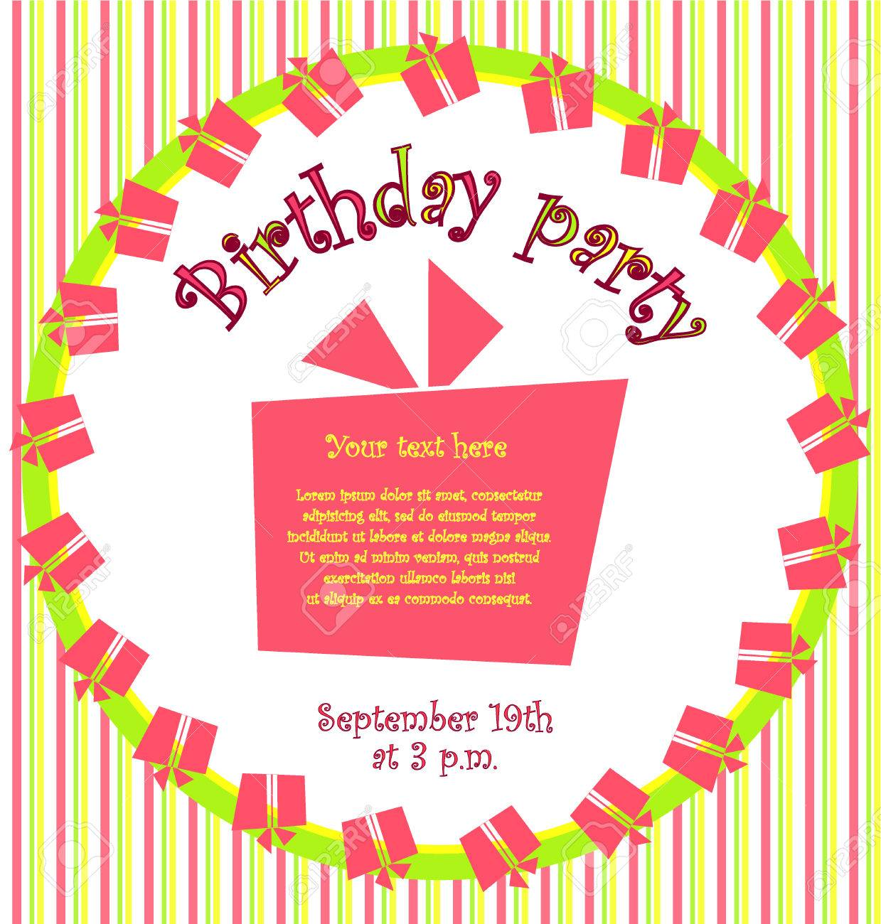 Vector Colorful Birthday Invitation Card With Gift Boxes In Circle ...
