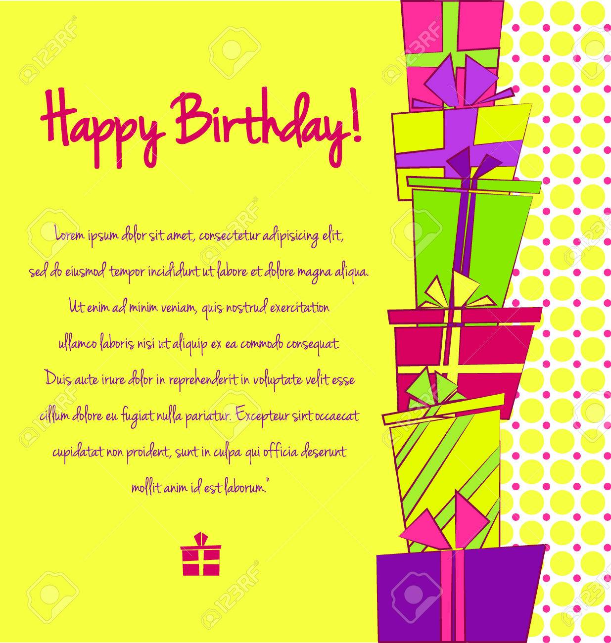 Vector Colorful Birthday Card With Pile Of Gift Boxes In Different