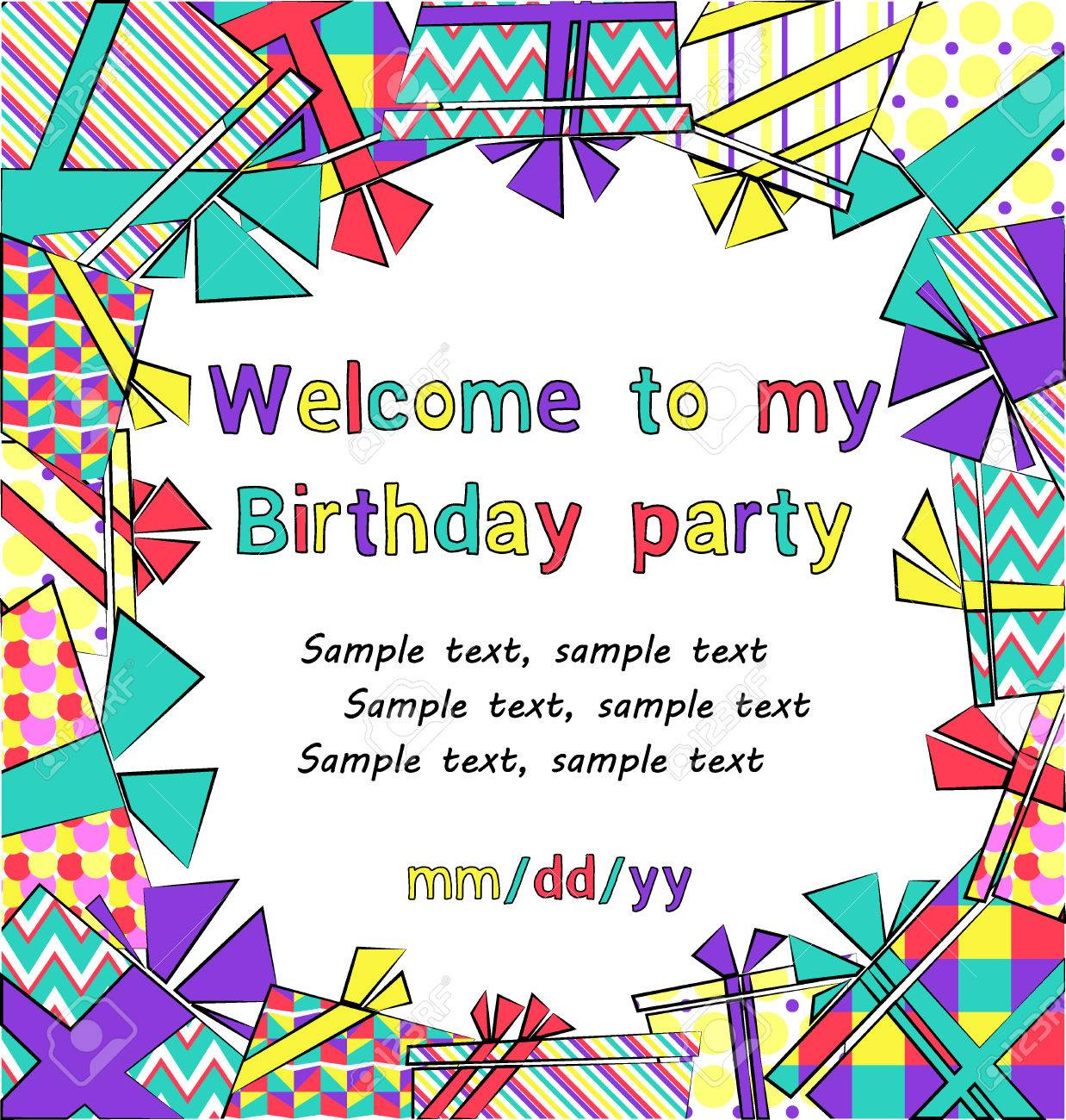 Vector Colorful Birthday Invitation Card With Gift Boxes In