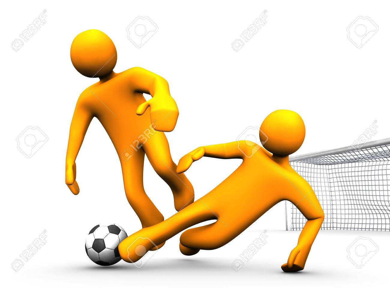 3d illustration looks two orange humanoides playing soccer. Stock Illustration - 6318198