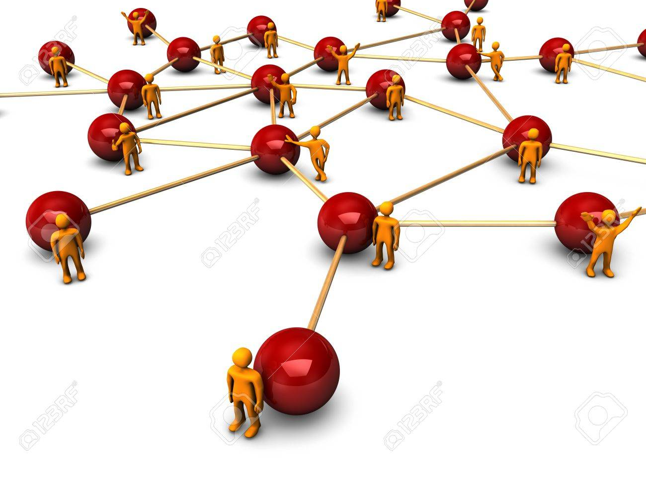 Abstractly rendering of the social network with funny orange persons, on the white background. Stock Photo - 7881499