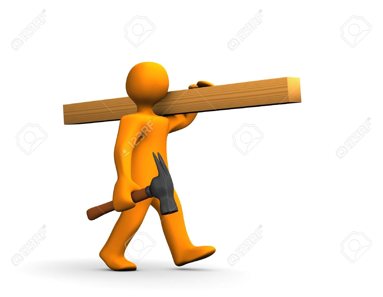 Orange cartoon carpenter with a hammer and lumber isolated on white. Stock Photo - 8140400