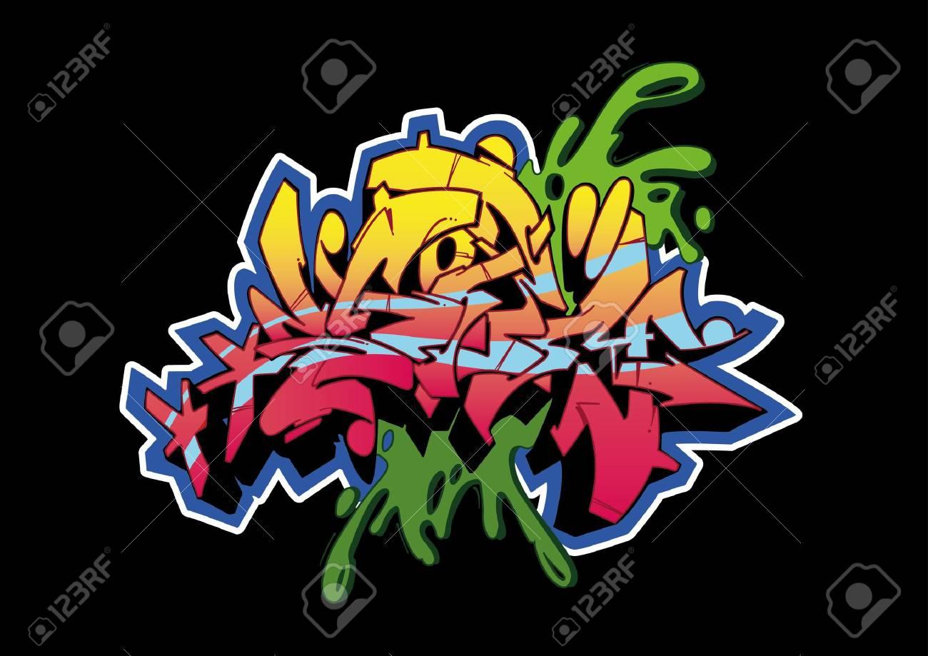 Graffiti wall black - Graffiti Sketch Word Storm Isolated On Black Stock Photo 8884008