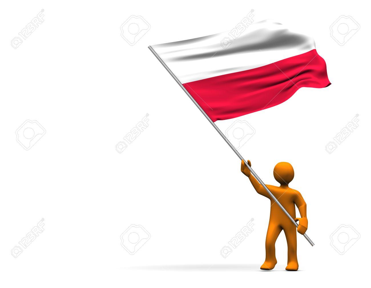 orange cartoon with a big flag of poland isolated on white stock