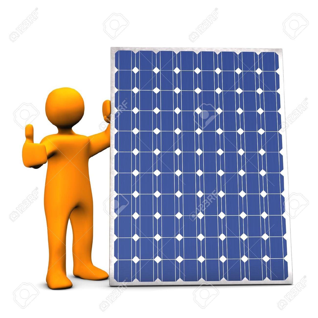 Orange cartoon with photovoltaic panel, on white background. Stock Photo - 10440418